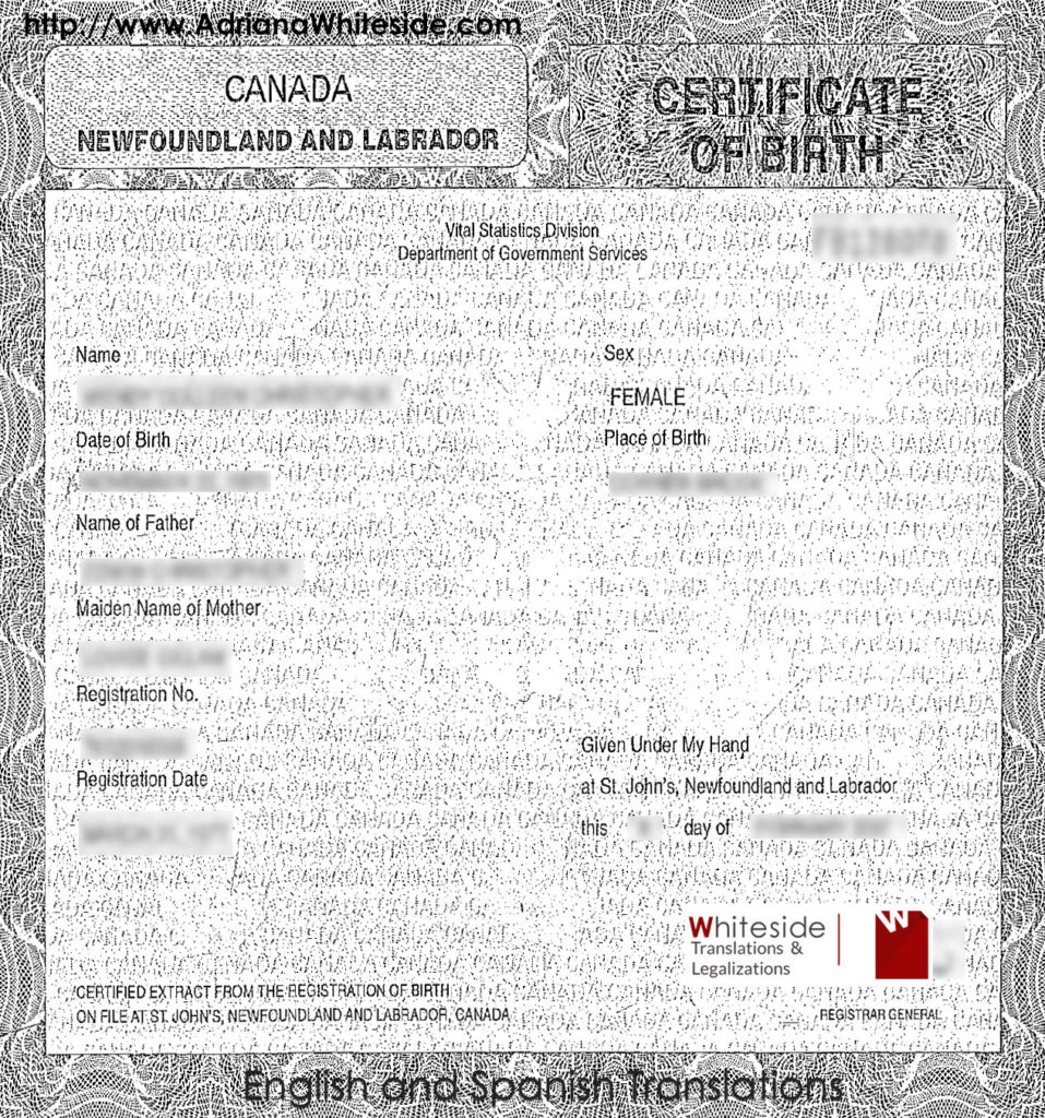 Birth Certificate to translate for the Cuban consulate