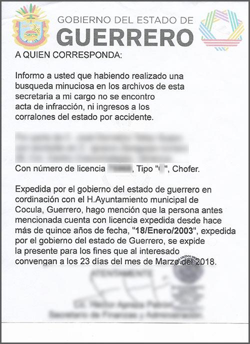 Certificación de antiguedad - Mexico