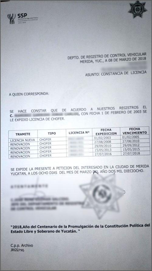 Historial de Manejo - Mexico