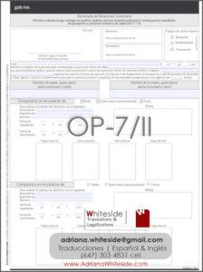 Formulario de OP-7 Toronto