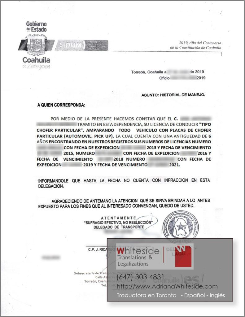 Historial de Manejo Coahuila, México