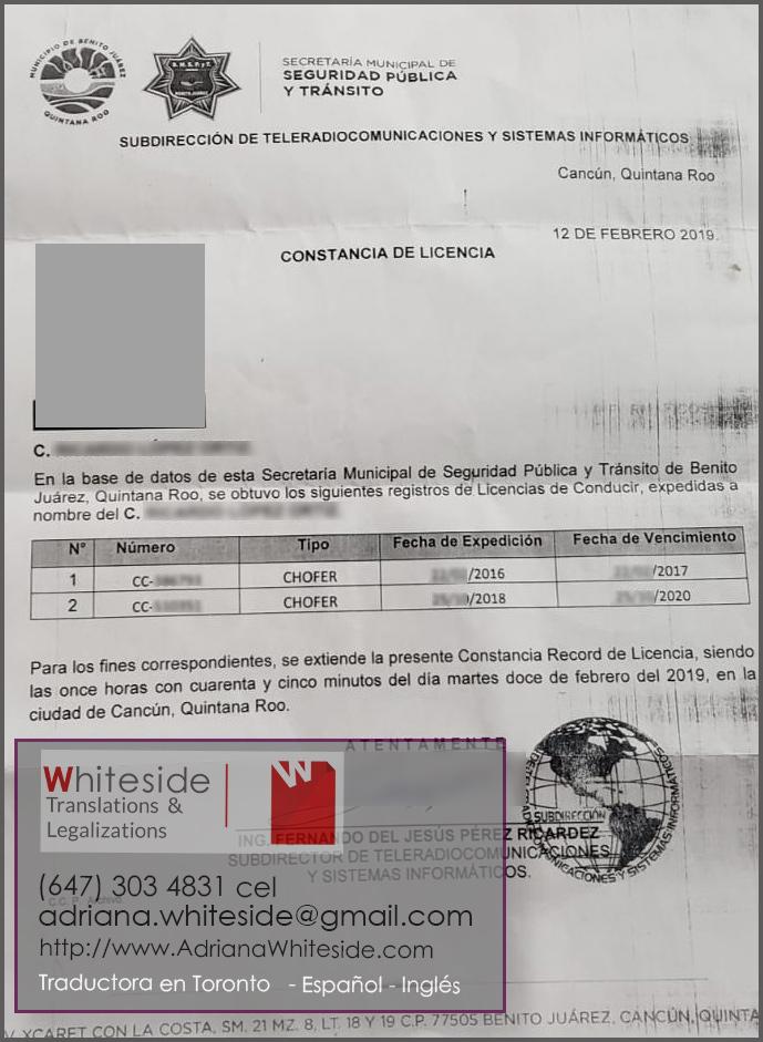 Historial de Manejo - Cancun
