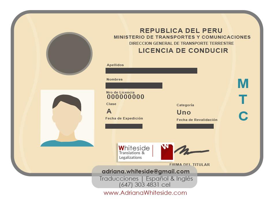 Licencia de Conducir de Perú - Toronto - Traducción