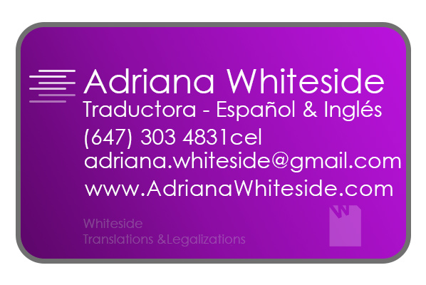 Adriana Whiteside, Spanish & English professional translator in Toronto
