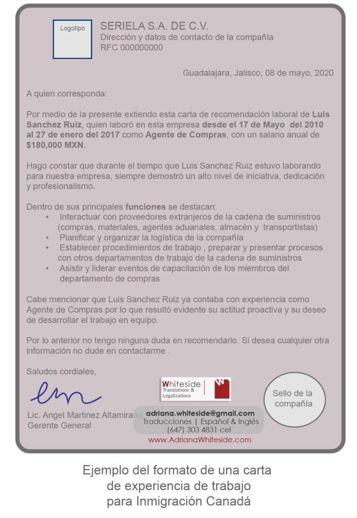 Carta de soporte de experiencia de trabajo