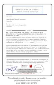 Carta de Opinión para casarse en Toronto, Ontario