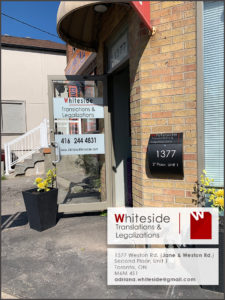 Whiteside Translations and Legalizations in Toronto